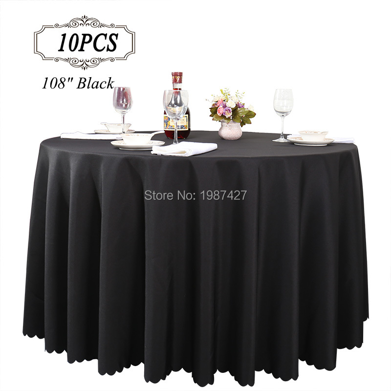 Free Shipping 10pc 108 White 100 Polyester Wedding Table Linens For Weddings Party Banquet Decorative Table Covers Table Cloth