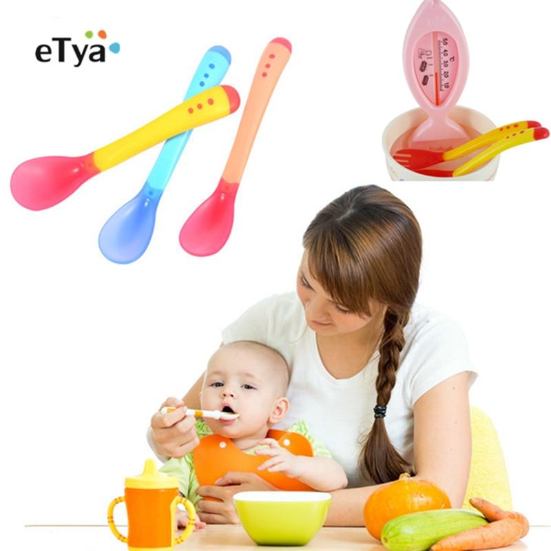 Spoons Dinnerware Silicone Children Temperature-Sensing-Spoon Feeding-Fork Food-Utensils