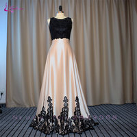 Waulizane Charming Backless Appliques Two Piece A Line Prom Dresses Vestido Lustrous Satin Crystal 2017 Evening
