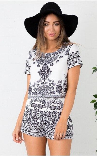 6c1cbad3f08 Vintage Summer 2 Pieces Clothes Set Women Porcelain Print O-Neck Short  Sleeve Shorts Crop Top Casual Outfits Suits Black White