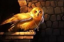 key wings art owl bird gold eyes animal art painting night CB17 Room home wall modern art decor wood frame poster