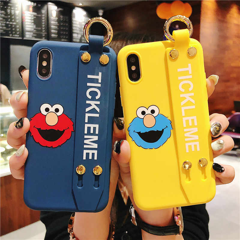 Elmo cookies monsters caso para iphone 8 7 6s mais pulseira titular para iphone x xr xs max silicone macio capa para iphone 7 plus
