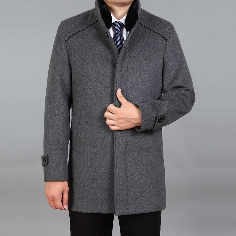 2020 High Quality Men Wool Coat Winter Woolen Coat Male Pea Coat Autumn Wool Blend Jacket Mens Cashmere Coat Real Rabbit Fur