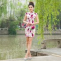 Fashion Woman Cheongsam Summer Short Sleeve Qipao Traditional Chinese Clothing Flower Printing Dresses