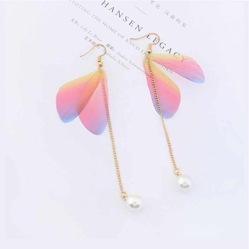 SHUANGR Fashion Cute Feather Dangle Earring Romantic Buttlefly Design Long Drop Earrings For Women Pink Blue Available