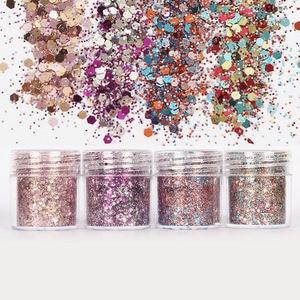Image 2 - Set of 4 10ml Chunky Pink series Nail Glitter Powder Sequins Powder For Nail Art Decoration Gradient Set ultra fine Nail Glitter