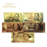 5pcs/lot 24K Color Thailand 20 50 100 500 1000 Baht Gold Foil Banknote in 24K Gold Plated Paper Money For Collection