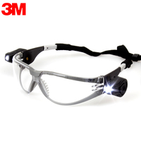 3M 11356 Safety Goggles With LED Lights Eye Protection Anti Shock Dust Sand Splash Wind Mirror