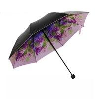 2016 Cá Tính sơn dầu ô mưa thương hiệu 3 gấp UV parapluie phụ nữ người đàn ông bãi biển parasol lady sun ô dù bán buôn