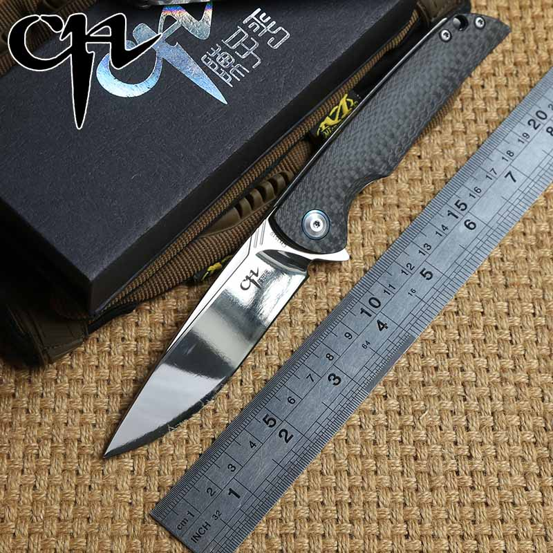 CH 3510 couteau pliant VG10 lame Flipper roulement à billes de fiber de Carbone poignée de survie en plein air camping chasse couteaux de poche EDC outils