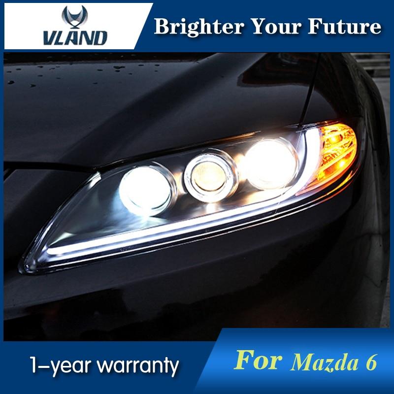 2Pcs For Mazda 6 Headlights 2003-2013 Led Head Lamp DRL Projector Headlight H7 hid Bi-Xenon Lens hireno headlamp for 2016 hyundai elantra headlight assembly led drl angel lens double beam hid xenon 2pcs