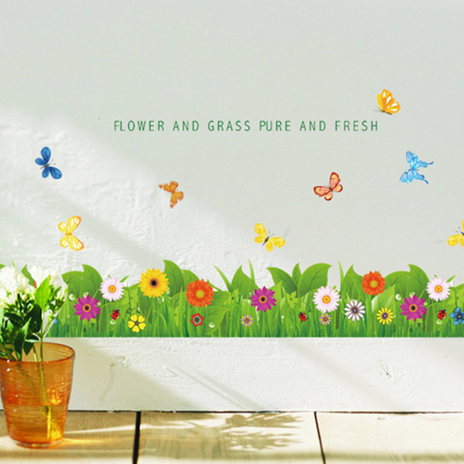 Flower Butterfly Wall Stickers For Kids Rooms Home Decor DIY Wallpaper Art  Decals House Decoration Wall