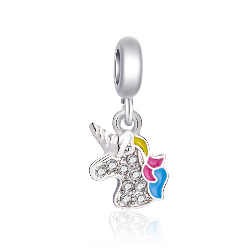 Kolorowe koraliki europejskie DIY biżuteria motyl blokada jednorożec wisiorki koraliki Fit Pandora Charms bransoletki dla kobiet Party Bijoux