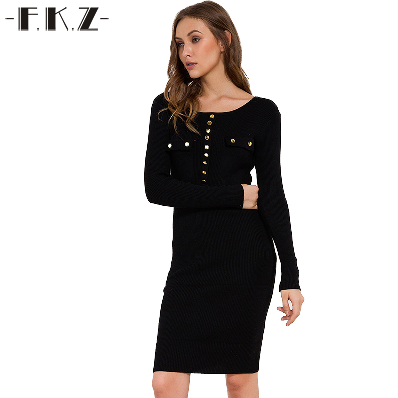 FKZ Full Sleeve Knitted Dress Round Neck Autumn Knee-Length Solid Rivet Bodycon Dress Sexy Black One Size Robe Femme 7620 pocket full length tee dress