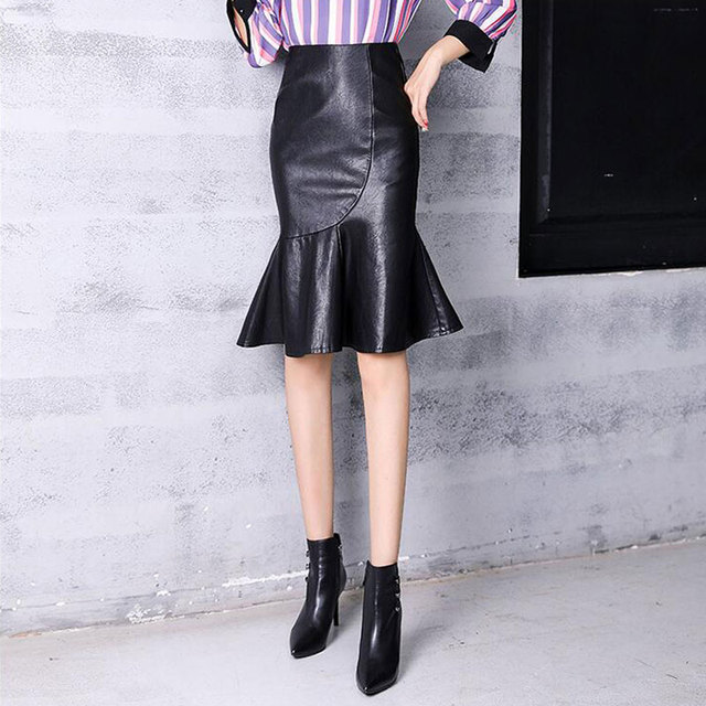 9144bb5f6d Fashion 2018 Autumn Winter Women's PU Leather Skirts Ladies Faux Leather  Mermaid Skirt Black Solid Color Knee-Length