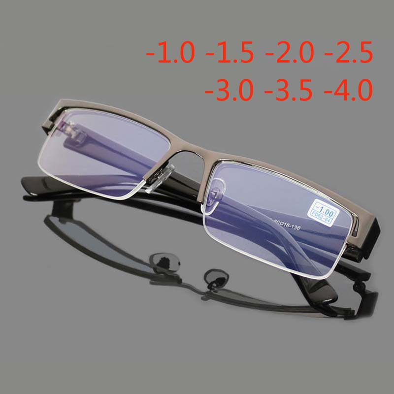 Myopia Glasses Half-Frame Eyeglass-1.0-1.5-2.0 Spectacles Stainless Metal Anti-Blue-Ray