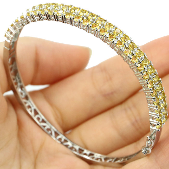 Ravishing Golden Citrine Ladies Present 925 Silver Bangle 8.0 68x7mm ...
