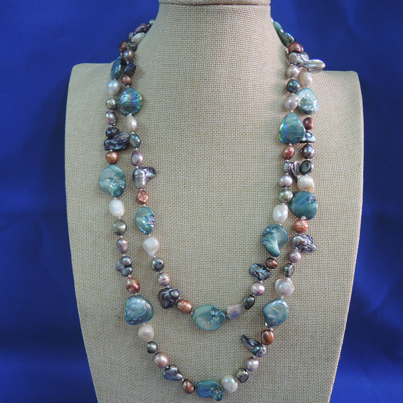 100 NATURE FRESH WATER PEARL NECKLACE 120 CM very fashion colors pearls barqoue shape pearl