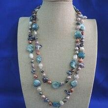 100% природа свежая вода жемчужное ожерелье, 120 см, очень модные цвета жемчуг, barqoue форму жемчужины