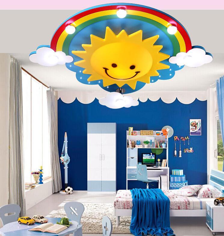 New Fashion Modern Cute sun rainbow LED Twinkle Cloud Kid Child Children Ceiling Light Lamp Lighting Bedroom livingroom