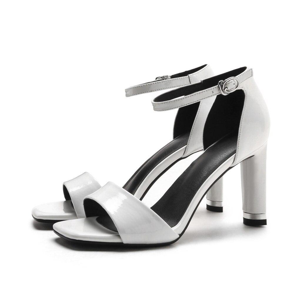 Boucle Chaussures Femme En Moonmeek Véritable Qualité Sandales Arrivée Classique Top Cuir 2018 Doux D'été Nouvelle Rouge blanc Femmes Élégant tsQChxBrd