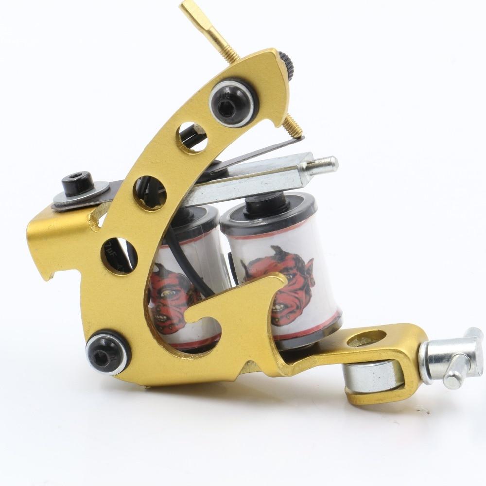 Mais novo barato-tattoo-máquinas feitas à mão maquiar máquinas de tatuagem arma 10 bobinas envoltório máquina de ferro fundido para forro e shader caneta