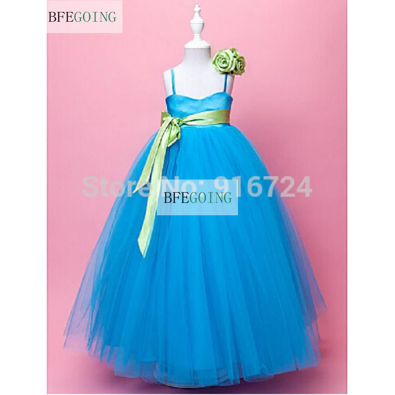 Blue Tulle A-line Spaghetti Straps Floor-length Satin And   Flower     Girl     Dress   Custom made