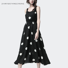 Polka Dots Maxi Dress Women Summer French Style Big Swing Pleated O-Neck Backless Bow Sexy Plus Size Female Street wear Dresses