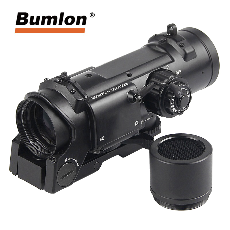 Quick Detachable Tactical 1x 4x Fixed Dual Role Optic Rifle Magnificate Scope Fit 20mm Weaver Picatinny