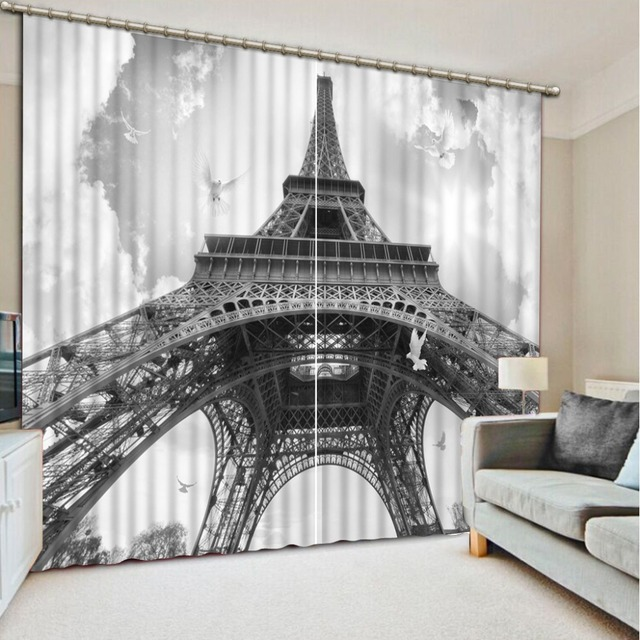 US $84.66 49% OFF|European Curtains For Living Room Bedroom Photo Children  Window Curtains Tower Polyester Blackout Blinds Drapes Cortinas -in ...