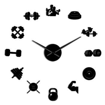 Bodybuilder Sport 3D DIY Wall Clock Unique Bodybuilding Gift For Fitness Lover Gym Acrylic Mirror Effect Wall Decor Clock Watch 9