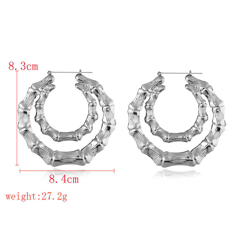 Double Deck Metal Annulus Hoop Earrings For Women Bamboo Design Gold Silver Simple Jewelry Party Gifts aretes de mujer 2018 New