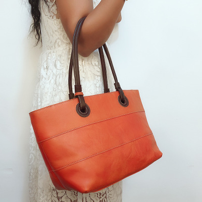 women original genuine leather tote bag vintage big first layer cowhide tote handbag female causal large one shoulder bag