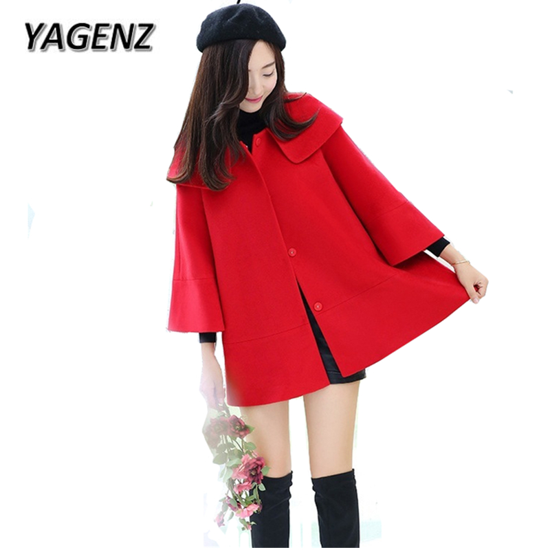 YAGENZ2017 Autumn Winter New Women Woolen Jackets Solid Loose Cloak Outerwear Casual Clothing Single-breasted Female Woolen Coat