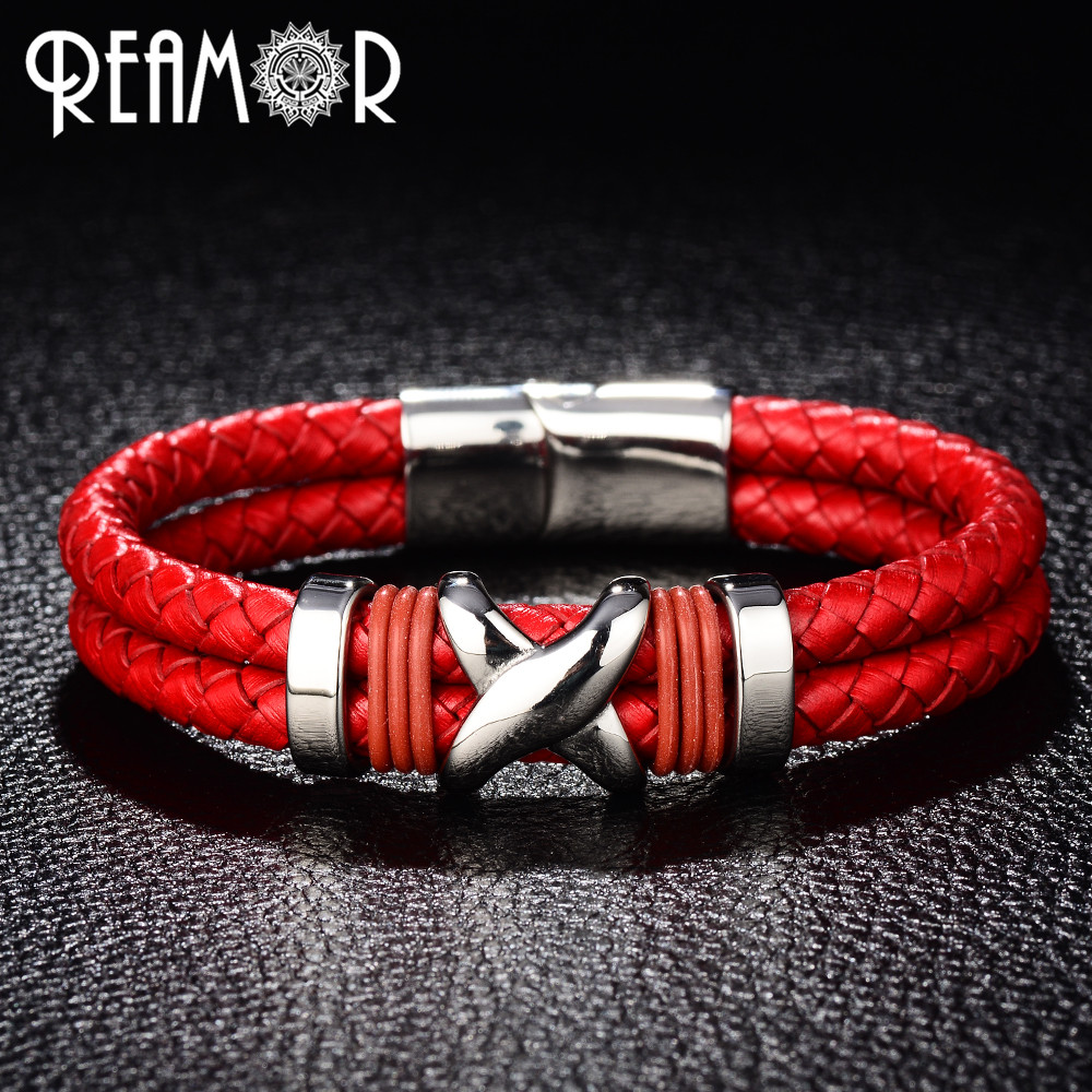 REAMOR Trendy Woman Cuff Bracelets Stainless Steel Letter X Knot Bangles Red Double Braided Leather Bangle Wristband Men Jewelry knot front letter tee