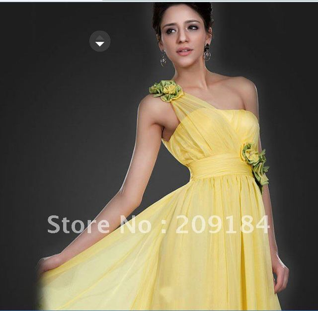 Customize Free shipping One shoulder Flower Stylish Evening gown ...