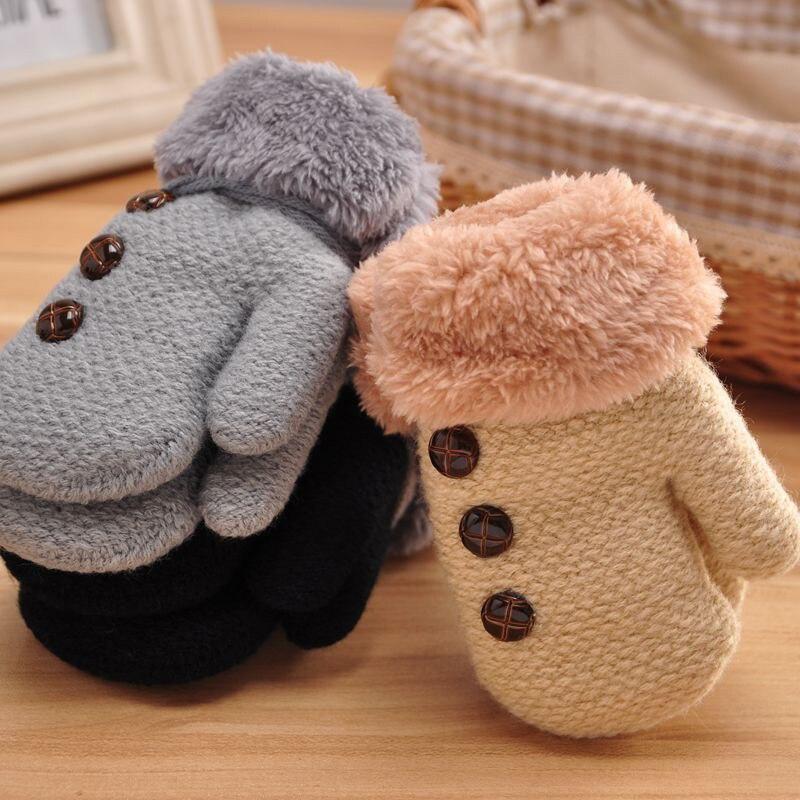 Niedrigerer Preis Mit Winter Hand Handschuhe Für Kinder Junge Mädchen Baumwolle Volle Finger Handschuhe Fäustlinge Warme Blatt Seil Taste Feste Handschuhe Freigabepreis