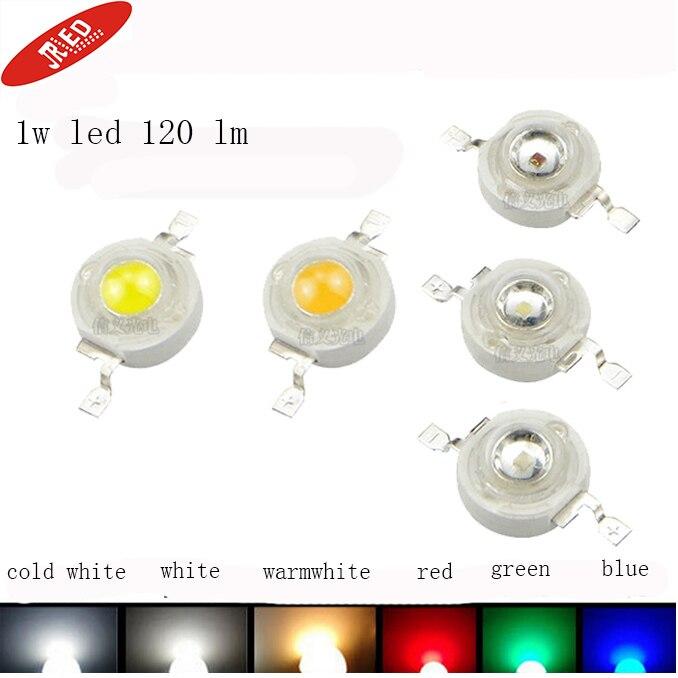 Freeshipping!10pcs/20PCS/50PCS/100PCSlot 1W LED Bulbs High Power Coldwhite White Warmwhite Red Green Blue Yellow 90-120Lm