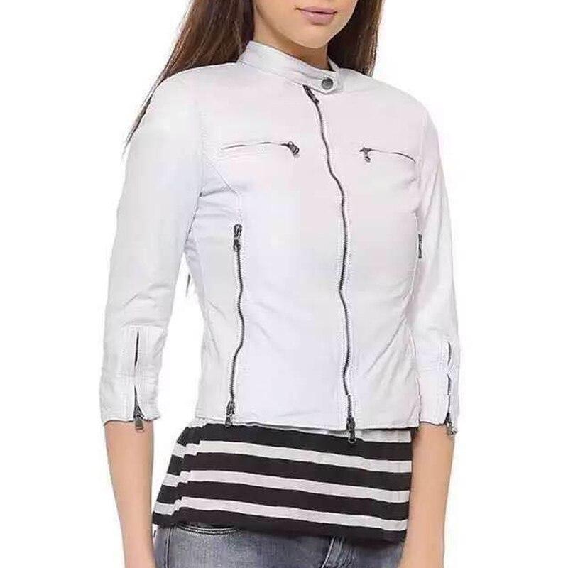 bde5fd3255 Tres-cuartos-de-manga-corta-chaqueta-de-cuero-de -las-mujeres-Rosa-negro-blanco-Faux-chaqueta.jpg
