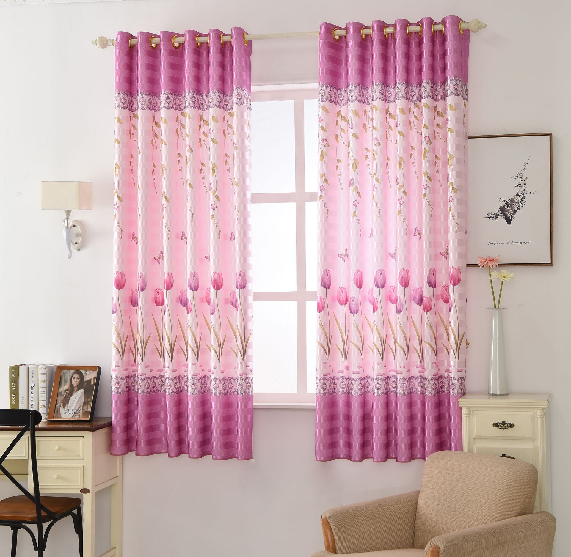 Short  Curtains For Bedroom Living Room Printing Curtain 2 Meters Short Curtain Half Shading Purple Tulips Printing