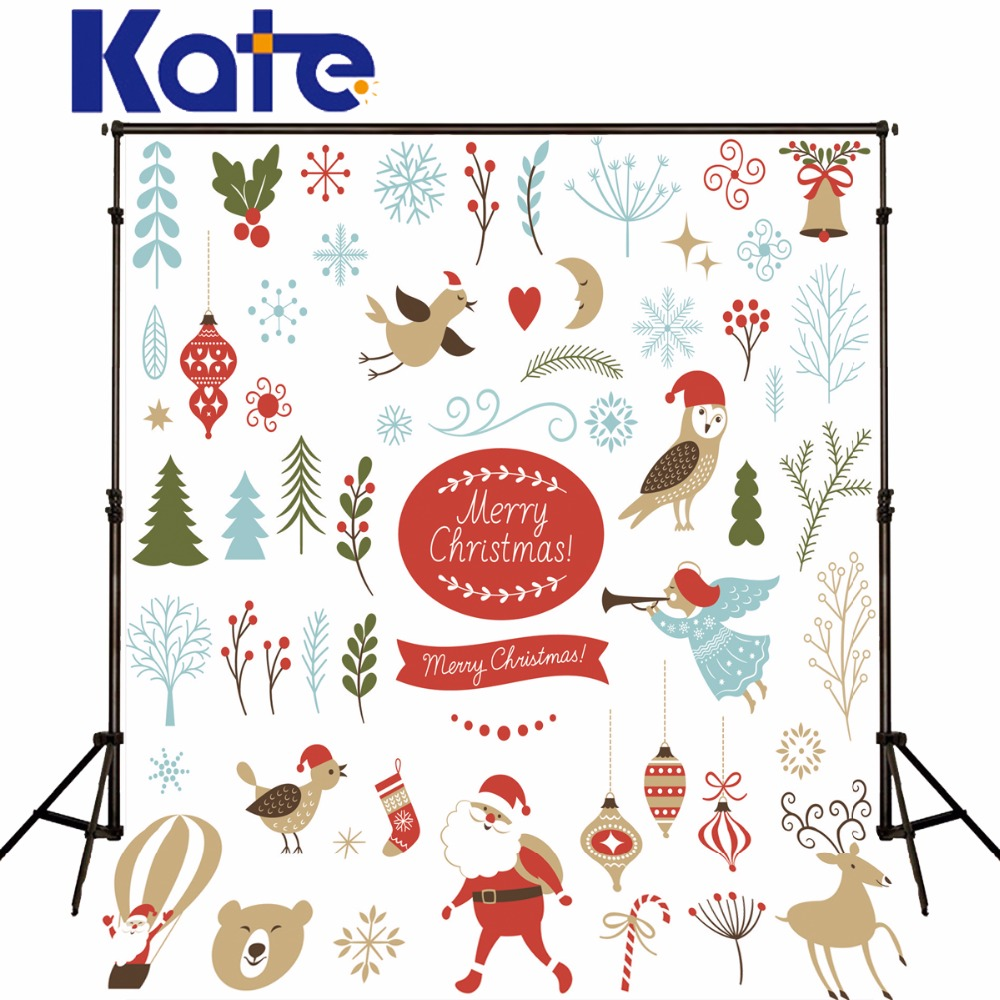 Kate  Digital Printing Photography Christmas Backdrops White Cartoon Santa Claus Trees Birds For Baby Photo Studio Backdrop allenjoy photography backdrops santa claus snow winter kids vinyl digital printing photo props profession christmas backgrounds