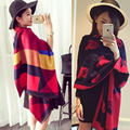 Fashion Stole long Plaid Poncho Imitation cashmere scarf High Neck Striped Sweater warm Shawl Woman Winter scarves scarf 20