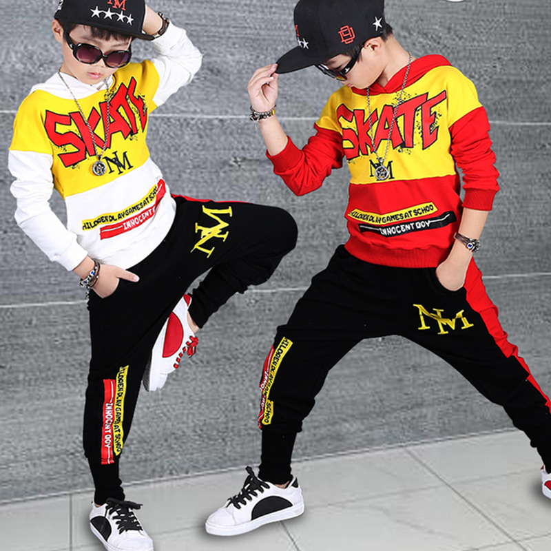 Fashion Boys Clothing Sets Cotton Sport Suit For Boys Clothes 2018 Spring Kids Clothes Set Children Hip Hop Style Clothing 4-16Y 4 pieces new fashion print cool boys girls clothing set cotton t shirt hip hop dance pants sport clothes suits kids outfits