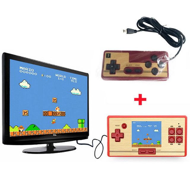 Classic Retro Handheld Game Console children's video game player 600 Games+128 games in Card 2nd Player Controller for FC pocket
