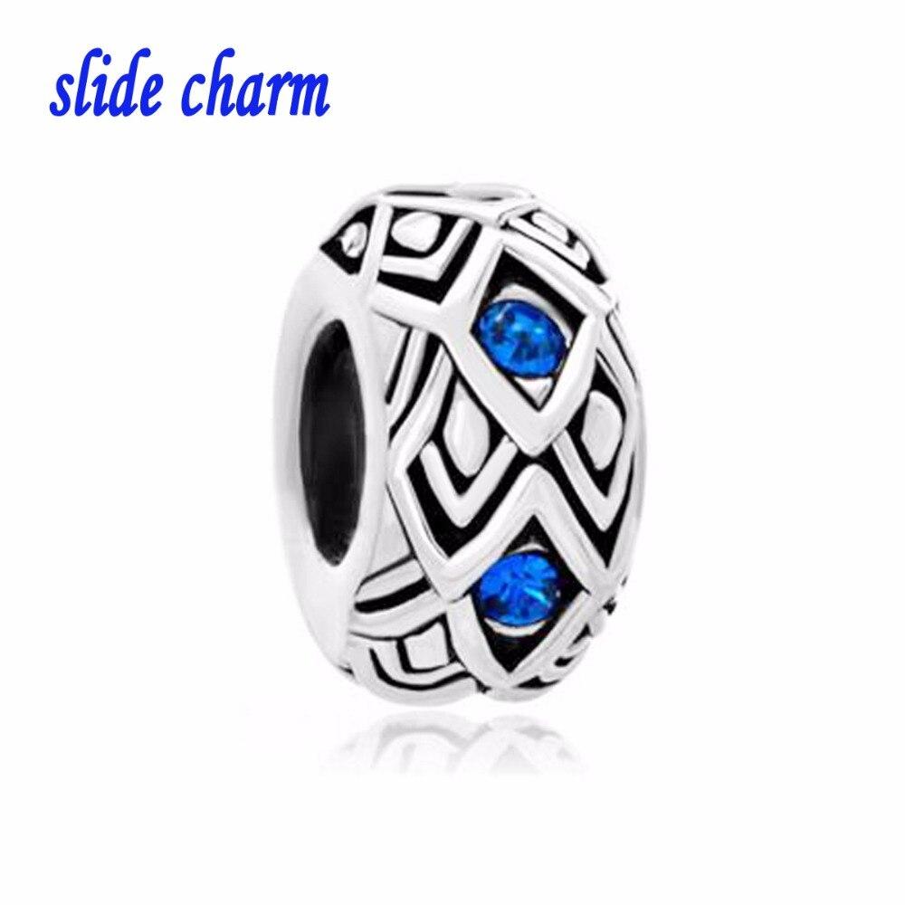 Zinc alloy Free shippingAntique valentines blue pattern DIY crystal beads fit Pandora charm bracelets