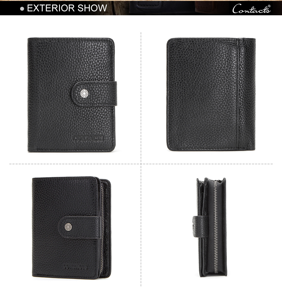 HTB1B7vrQrPpK1RjSZFFq6y5PpXaY - CONTACT'S genuine leather RFID vintage wallet men with coin pocket short wallets small zipper walet with card holders man purse