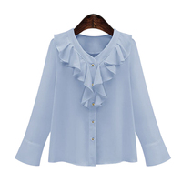 2017 Women Ruffles Blouse Long Sleeve V Neck Ruffles Front Button Elegant Office Wear Women Casual