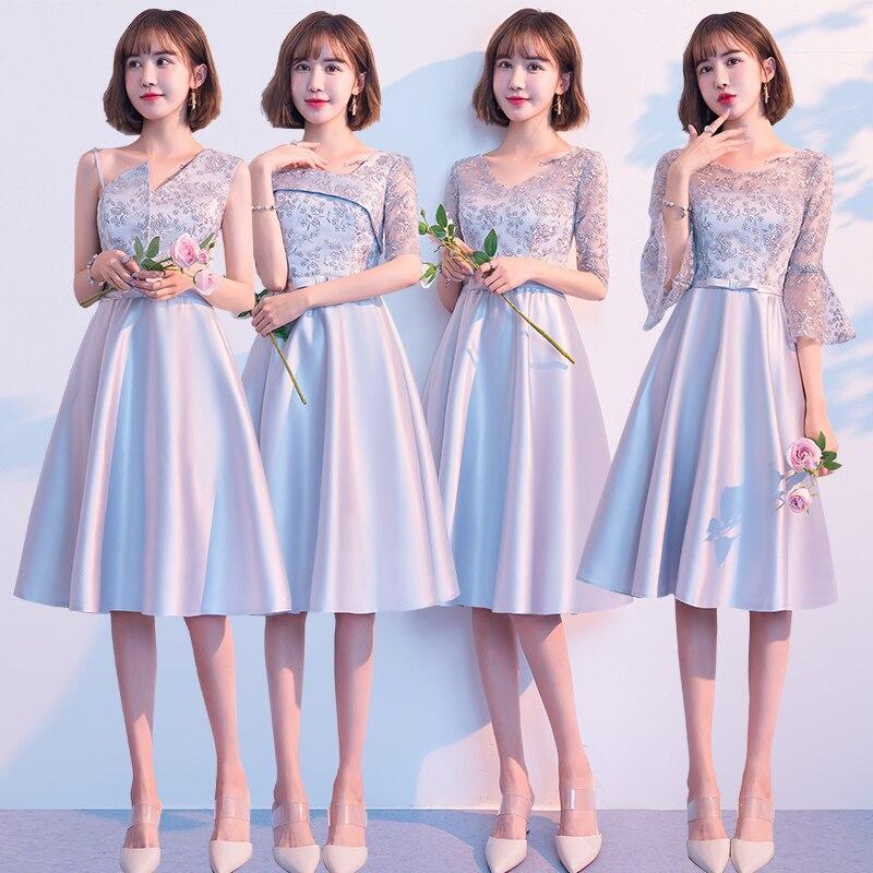 Beauty-Emily robes De demoiselles d'honneur 2019 court col en v dentelle a-ligne Robe De soirée De mariage Robe formelle Robe De soirée