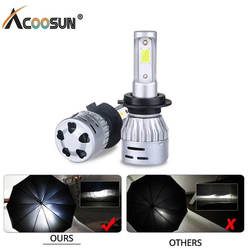 AcooSun led 3000K 4300K 6500K 8000K H7 led H4 H1 H11 Car Headlight HB3 9005 9006 Led Bulbs 12V 72W 8000LM COB luces para auto