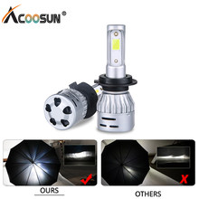 AcooSun led 3000K 4300K 6500K 8000K H7 led H4 H1 H11 Car Headlight HB3 9005 9006 Led Bulbs 12V 72W 8000LM COB luces para auto(China)
